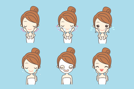 cartoon girl care her face with various actions, facial, beauty