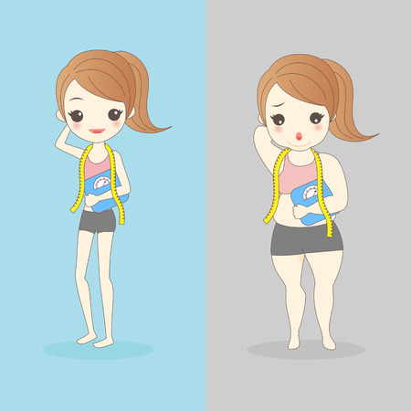 cartoon slim and fat woman wear underwear and take waist ruler amount and body weight Illustration