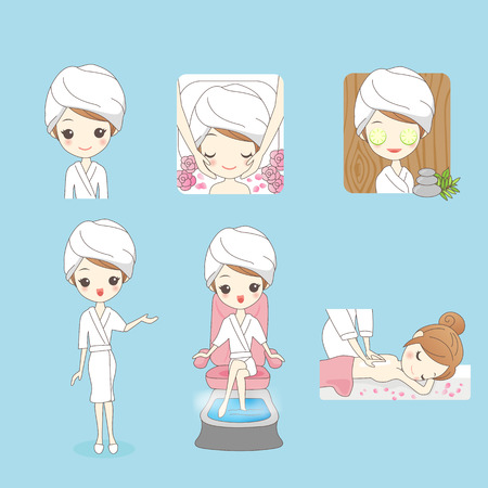 Cartoon beautiful young woman enjoy massage at spa with roses, beauty 向量圖像