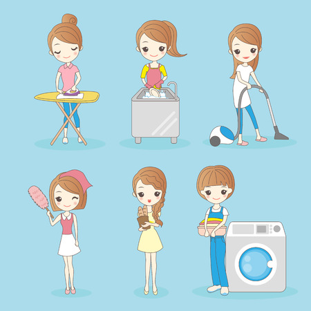 cartoon housewife do housework, great for your design Vectores