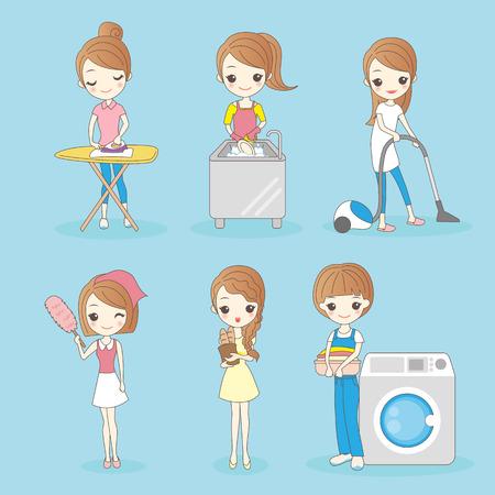 cartoon huisvrouw doet het huishouden, geweldig voor je ontwerp