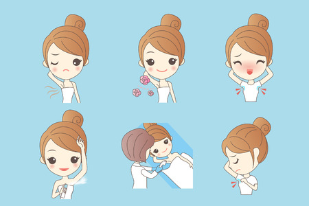 Cartoon beautiful young woman applying deodorant on underarm Illustration