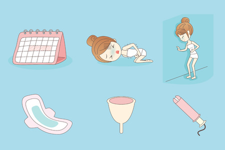 menstrual: cartoon young woman is suffering menstrual pains Illustration