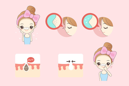 exfoliation: cartoon woman do facial care, great for your design