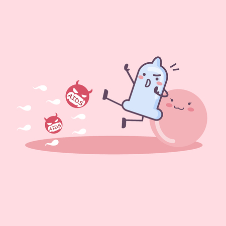 condom cartoon protect ovum, great for safe sex and AIDS prevention concept