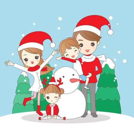 family: christmas cartoon family is smiling happily to you