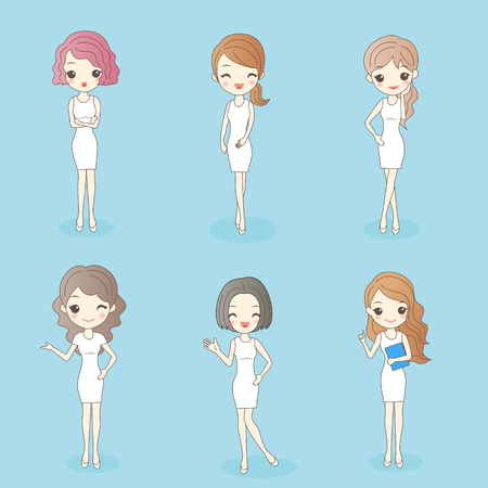 make up model: beauty cartoon woman has different hair style, great for your design Illustration