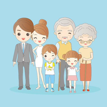 cartoon family is  smling happily to you