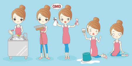 cartoon housewife do work hardly and feel bad