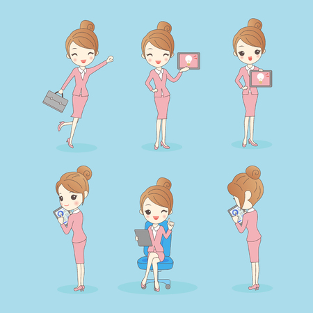 woman tablet: Business woman look happily and show tablet pc