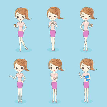 cartoon business woman hold coffee and show something to you Illustration