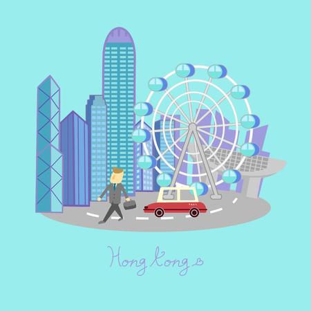 elemento de viajes a Hong Kong - gran concepto de viajes a Hong Kong Vectores