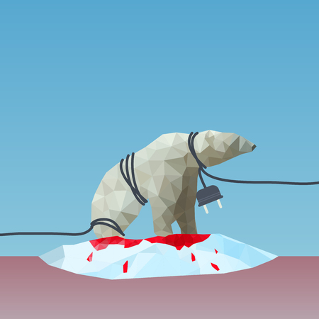 low poly Polar bear  reined by the plug on the iceberg, great for environment concept