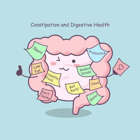 cute cartoon intestine with reminder, great for health care concept Çizim