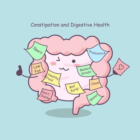 schattige cartoondarm met herinnering, ideaal voor gezondheidszorgconcept Stock Illustratie