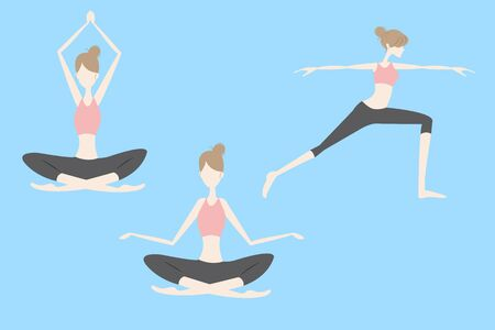 Cartoon woman is doing yoga great for health Illustration