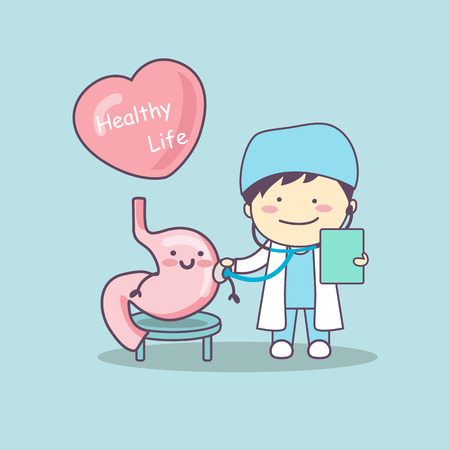 cute cartoon doctor check stomach , great for health life concept