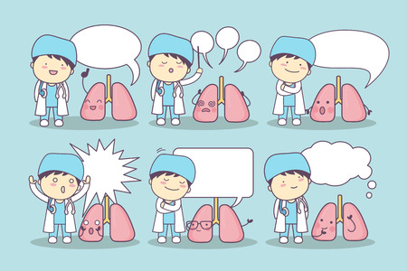 speech bubble hospital: cartoon lung and doctor with speech bubble, great for your design