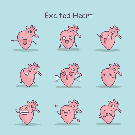 Excited cartoon heart set, great for your design