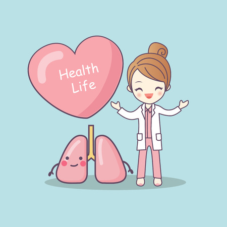 cute cartoon doctor with lung , great for health life concept Stock Illustratie