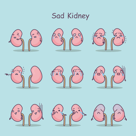 sad cartoon kidney,great for your concept