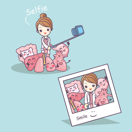 bowel: Happy organ cartoon with doctor selfie - heart, lung, liver, stomach and intestine cartoon, great for health care concept Illustration