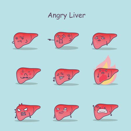 Enojado conjunto de hígado de dibujos animados, ideal para su diseño