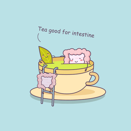 sigmoid: Tea is good for intestine,great for health care concept