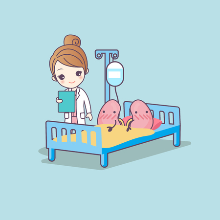 cute cartoon kidney and doctor, great for health care concept