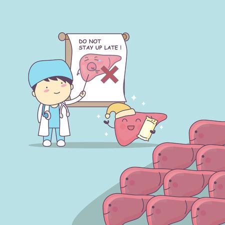 dibujos animados médico enseñar hígado para ser la salud, gran concepto de cuidado de la salud Ilustración de vector