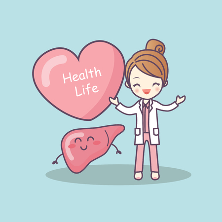 cute cartoon doctor with liver, great for health life concept