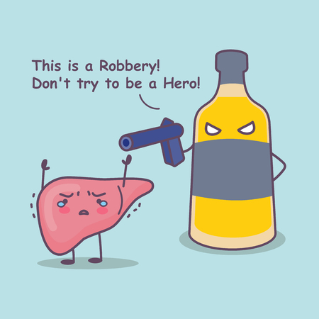 cute cartoon liver robbery by unhealthy liquor, great for health care concept