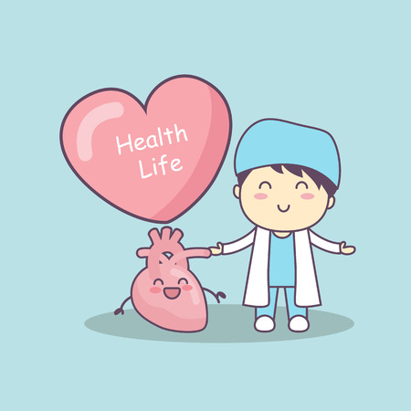 cute cartoon doctor with heart , great for health life concept