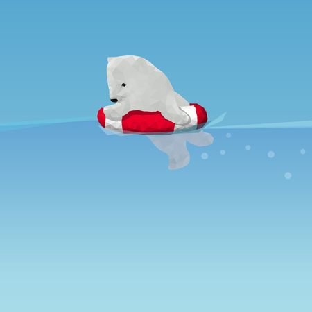 low poly Polar bear  swimming by lifesaver in the ocean, great for environment concept Illustration