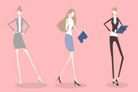 woman on phone: cute cartoon business woman talk in phone Illustration