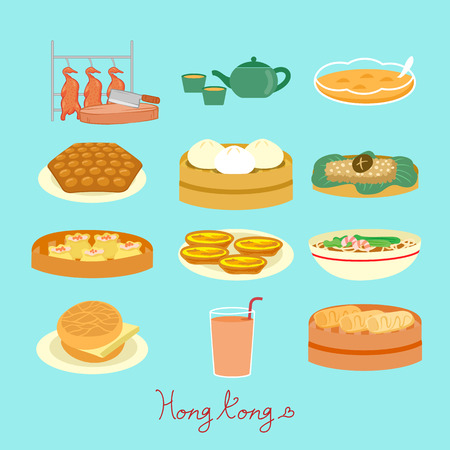 Hong Kong food element - great for Hong Kong travel concept Çizim