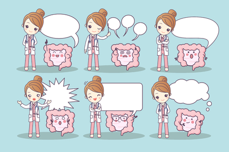 rectum: cartoon intestine and doctor with speech bubble, great for your design Illustration