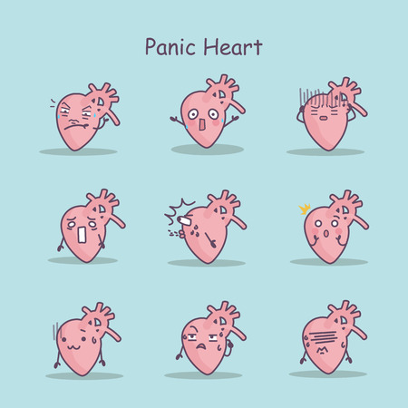 Panic cartoon Heart set, great for your design and health care concept Illustration