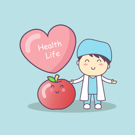 trainee: cute cartoon doctor with apple,great for health life concept Illustration
