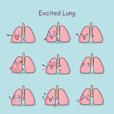 Excited cartoon lung set, great for your design Illustration
