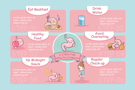 gut: 6 steps for health cute cartoon stomach, great for health care concept