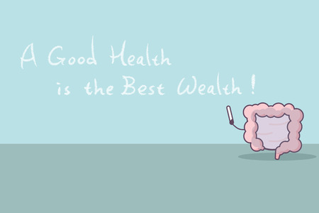 cartoon intestine with slogan,a good health is the best wealth, great for health care concept Illustration