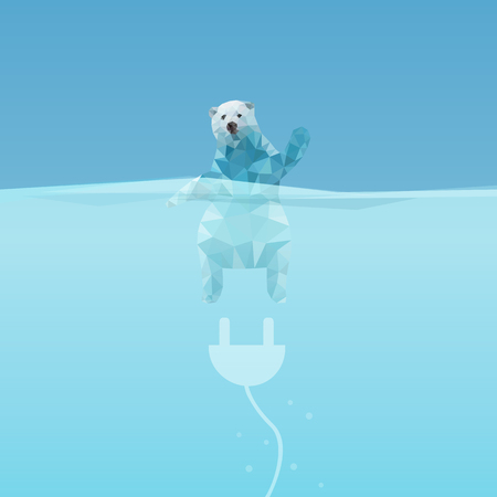 low poly Polar bear  in the sea with plug, great for environment concept