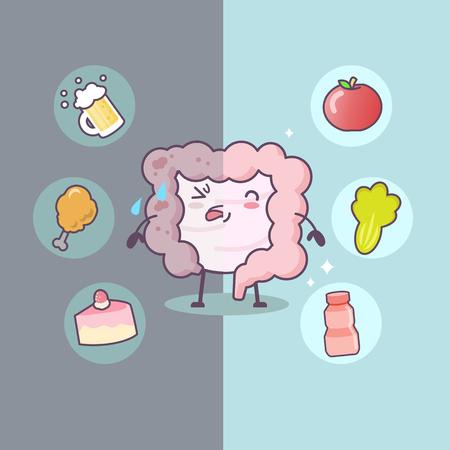 Nette Karikatur Gesunde und ungesunde Darm mit Lebensmitteln - ideal für Gesundheitspflege-Konzept Vektorgrafik