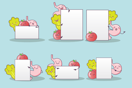cute cartoon vegetable ,fruit and stomach with billboard, great for health care concept 向量圖像