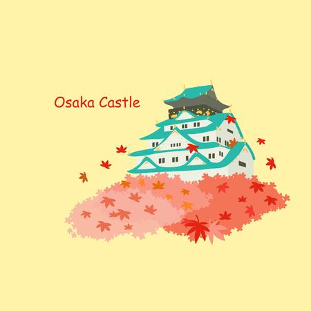 Japan osaka castle and maple in autumn Vektorové ilustrace