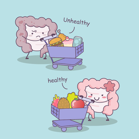 sigmoid: Cute cartoon Healthy and unhealthy intestine with shopping cart - great for health care concept
