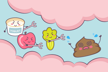 feces: Cute cartoon yogurt , apple fruit and vegetable with poop in the intestine - great for health care concept Illustration