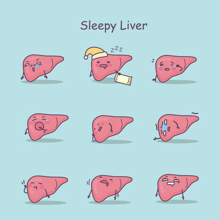 Sleepy cartoon liver set, great for your design Illustration