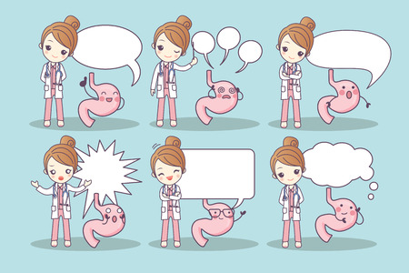 cartoon stomach and doctor with speech bubble, great for your design